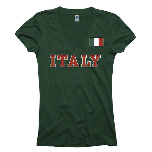 Women's Italy Green Country Flag Pole V-Neck T-Shirt