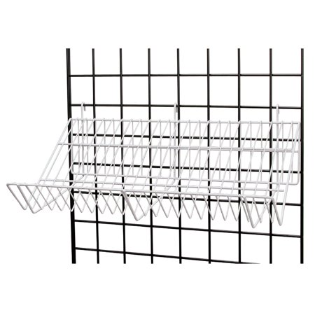 24 x 12 x 6 inch White Downslope Shelf With 4 Inch Slanted Front Lip - For Wire Grid ()