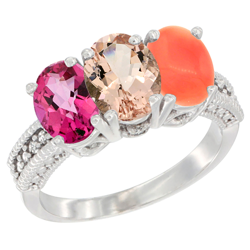 10K White Gold Natural Pink Topaz, Morganite & Coral Ring 3-Stone Oval 7x5 mm Diamond Accent, sizes 5 10 by WorldJewels
