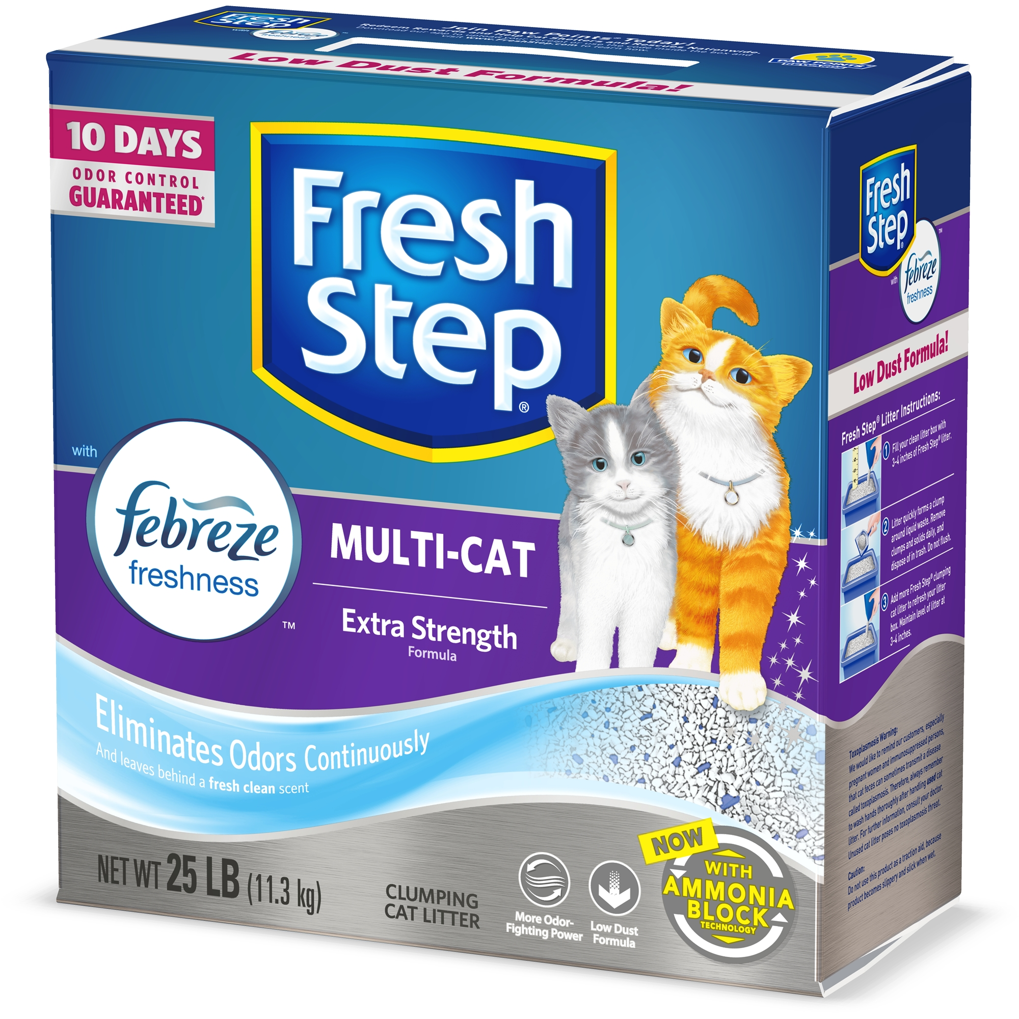 Fresh Step Multi-Cat Scented Litter with the Power of Febreze, Clumping Cat Litter, 25 lbs