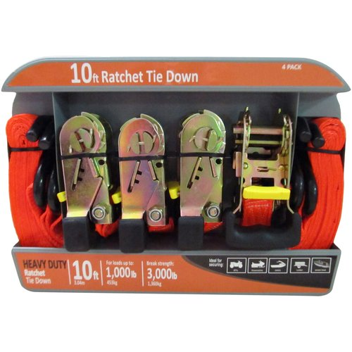 10' Ratchet Tie Down, Orange, 3000 lbs, 4-Pack