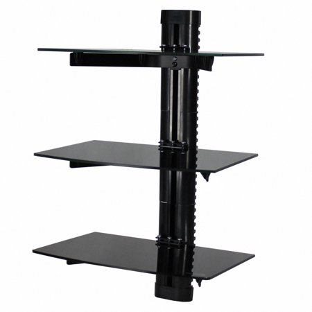 NavePoint Wall Mount Bracket Triple Medium Glass Floating Shelf For DVD DVR VCR Cable Box Receiver Component Mounting Under LCD TV