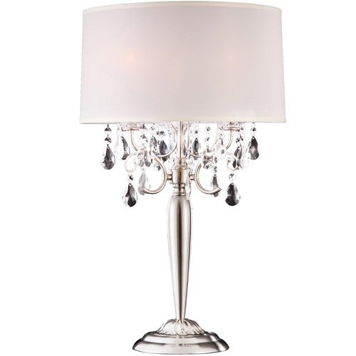 Ore international inc crystal silver table lamp for Table decor international inc