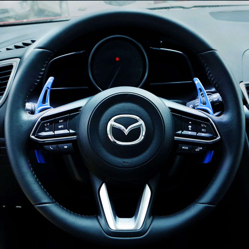 Shift Paddle Blade Car Steering Wheel Paddle Shifter Extension Cover for 2019 2020 2021 Mazda CX30 MAZD3 Aluminum Metal Steering Wheel Paddle Shifter black