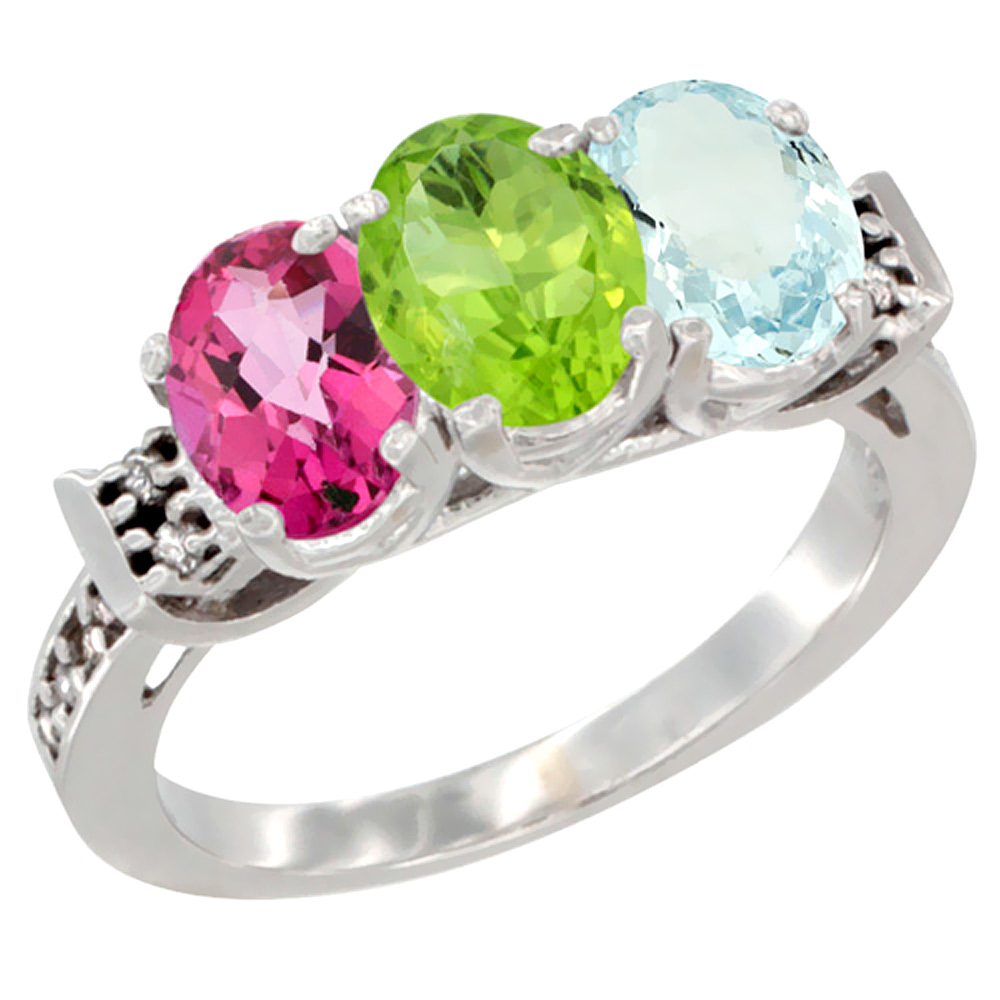 14K White Gold Natural Pink Topaz, Peridot & Aquamarine Ring 3-Stone 7x5 mm Oval Diamond Accent, sizes 5 10 by WorldJewels