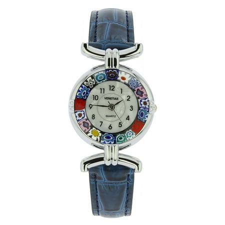 Murano Glass Millefiori Watch with Leather Band - Blue