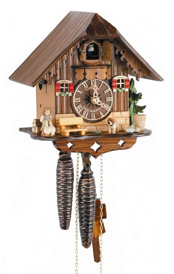 1-Day Black Forest House Cuckoo Clock w Shut-off Lever by Schneider Cuckoo Clocks