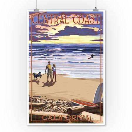 Central Coast, California - Beach Scene and Surfers - Lantern Press Artwork (9x12 Art Print, Wall Decor Travel Poster) - Halloween Parties Central Coast