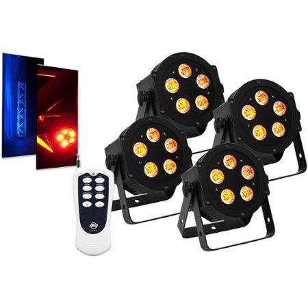 (4) American DJ ADJ 5P-HEX 6-In-1 RGBAW+UV LED DMX Slim Par Lights + Remote