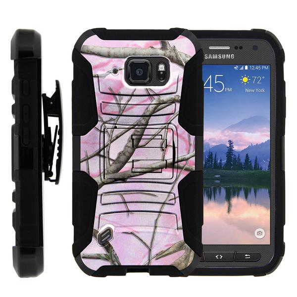 Samsung Galaxy S6 Case | G920 Case [ Clip Armor ] Rugged Impact Defense Case with Built in Kickstand and Holster - Pink Hunter Camouflage
