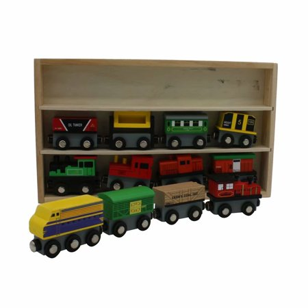 Toys 12 Pcs Wooden Engines & Train Cars Collection Compatible with Thomas Wooden Railway, Brio, Chuggington