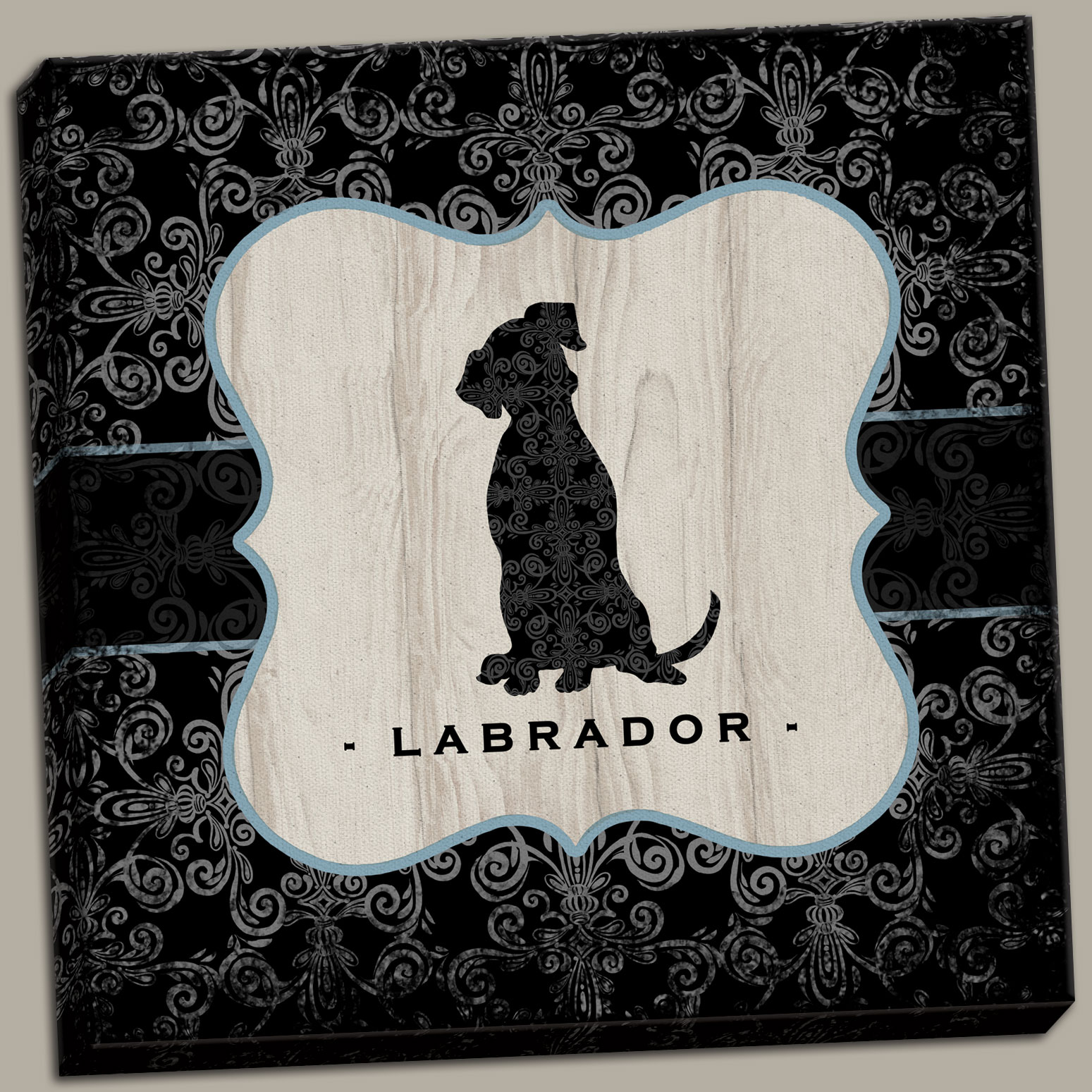 Canvas Fun, Trendy Labrador Sign; Perfect Gift for the Dog Lover; One 12X12 Hand-Stretched Canvas