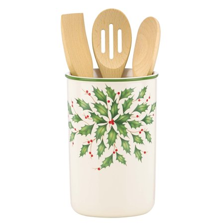 Lenox Holiday Utensil Crock with 3 Wooden - Lenox Scalamandre Zebras