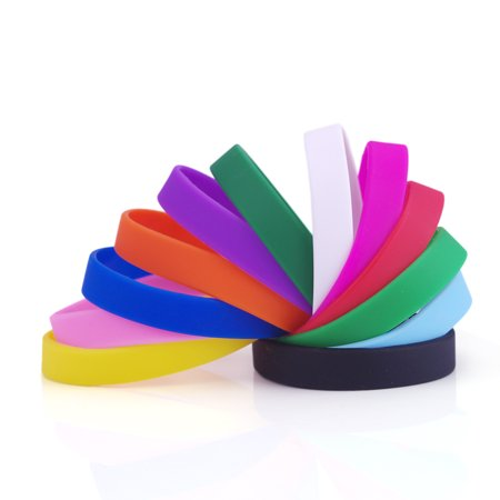 GOGO Wholesale Rubber Bracelets for Kids Silicone Wrist Bands For Events Rubber Bands Party Favors-Assorted-60 PCS