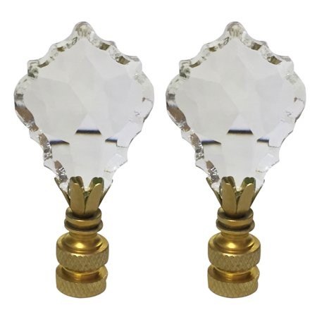 Royal Designs Pendalogue French Cut Clear K9Crystal Lamp Finial For Lamp Shade With Polished Brass Base Set of 2
