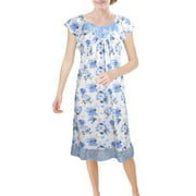 Chemin de Moda Women's Short Sleeve Lace Front Knee-Length Nightgown