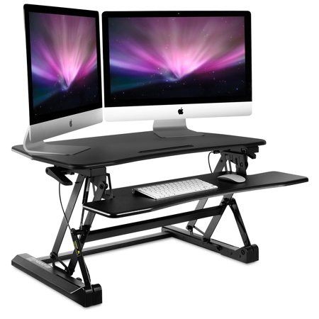 (Mount-It! Height Adjustable Standing Desk Sit-Stand Desk Converter with Keyboard Tray, 35 Inch Wide (MI-7955))