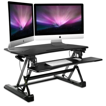 mount it height adjustable standing desk sit stand desk converter with keyboard tray 35 inch. Black Bedroom Furniture Sets. Home Design Ideas