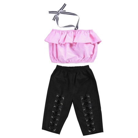 Boutique Toddler Kids Girl Off Shoudler Crop Tops Elastic Pants Outfit Clothes Set 1-6Y - Boutique For Children