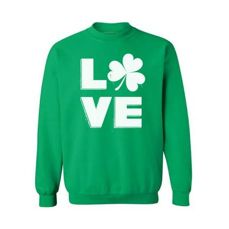 Awkward Styles Love Irish Shamrock Sweatshirt St. Patricks Day Gifts for Him Gifts for Her Irish Sweater for Women and Men Gifts for Proud Irish Shamrock Sweater Irish Pride St Patty Sweatshirt ()