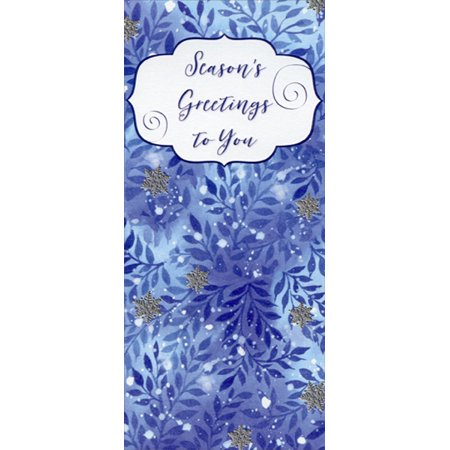 Designer Greetings Shades of Blue Season's Greetings to You 8 Christmas Gift Card / Money - Photo Holder Christmas Cards