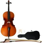 Zimtown 4/4 Full Size Matt BassWood Cello + Bag + Bow + Rosin + Bridge Full Size Wood Color