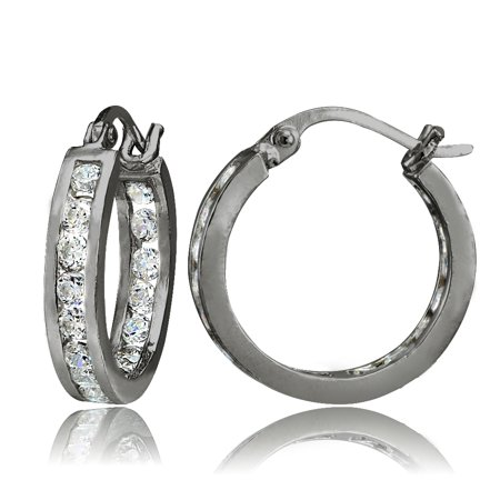 893b578fb SilverSpeck - Black Tone over Sterling Silver Cubic Zirconia Inside Out  Channel-Set 15mm Round Hoop Earrings - Walmart.com