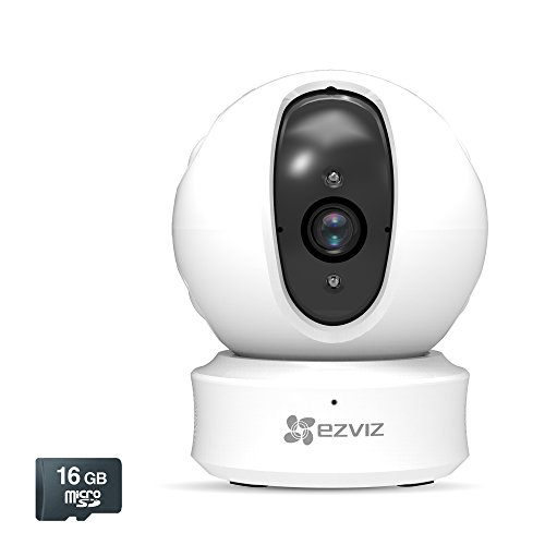 EZVIZ ez360 1080p HD Pan/Tilt/Zoom WiFi Home Security Camera - Auto Motion Tracking, Night Vision, and Two-Way Audio, Works with Alexa (White), Pre-installed 16GB microSD Card Included