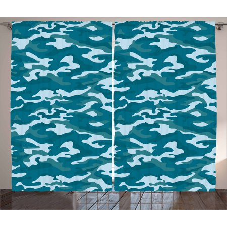 Camo Curtains 2 Panels Set, Military Theme Camouflage in Oceanic Colors Sea Water Inspired, Window Drapes for Living Room Bedroom, 108W X 63L Inches, Dark Blue Slate Blue Baby Blue, - Camouflage Theme