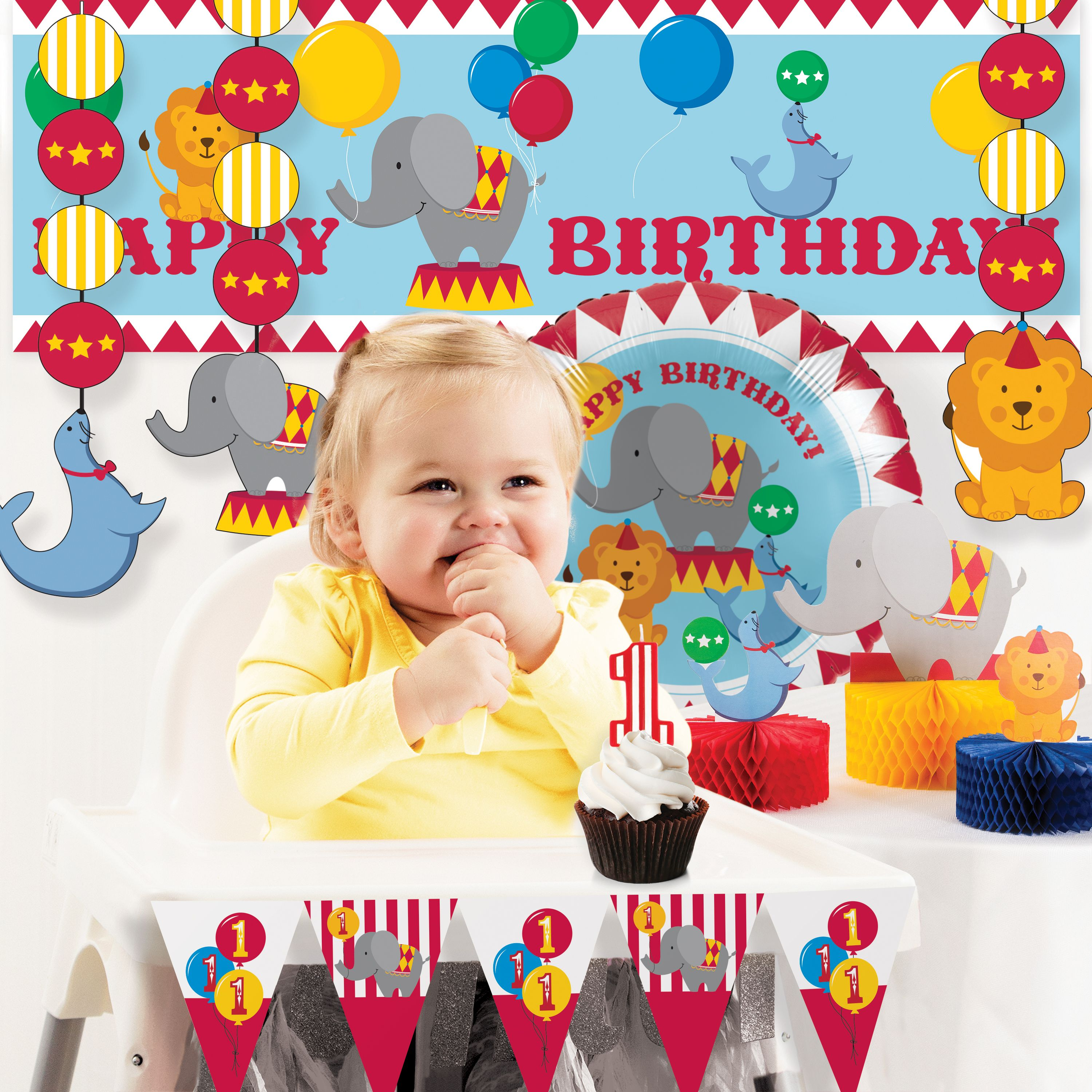 Circus 1st Birthday Party Decorations Kit