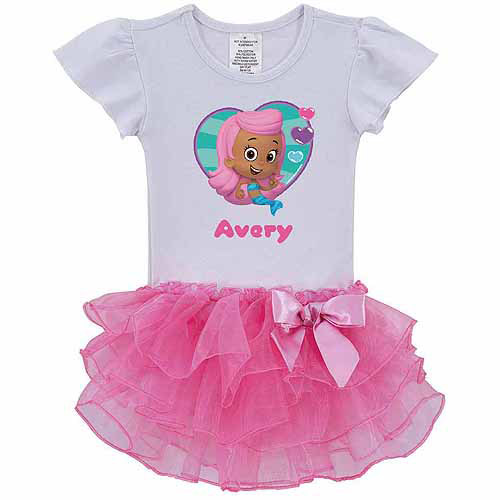 Personalized Bubble Guppies Molly Toddler Girl Pink Tutu Shirt In Sizes: 2t, 3t, 4t, 5/6t