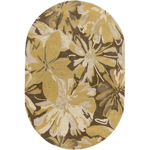 Charlton Home Millwood Gold/Chocolate Floral Area Rug