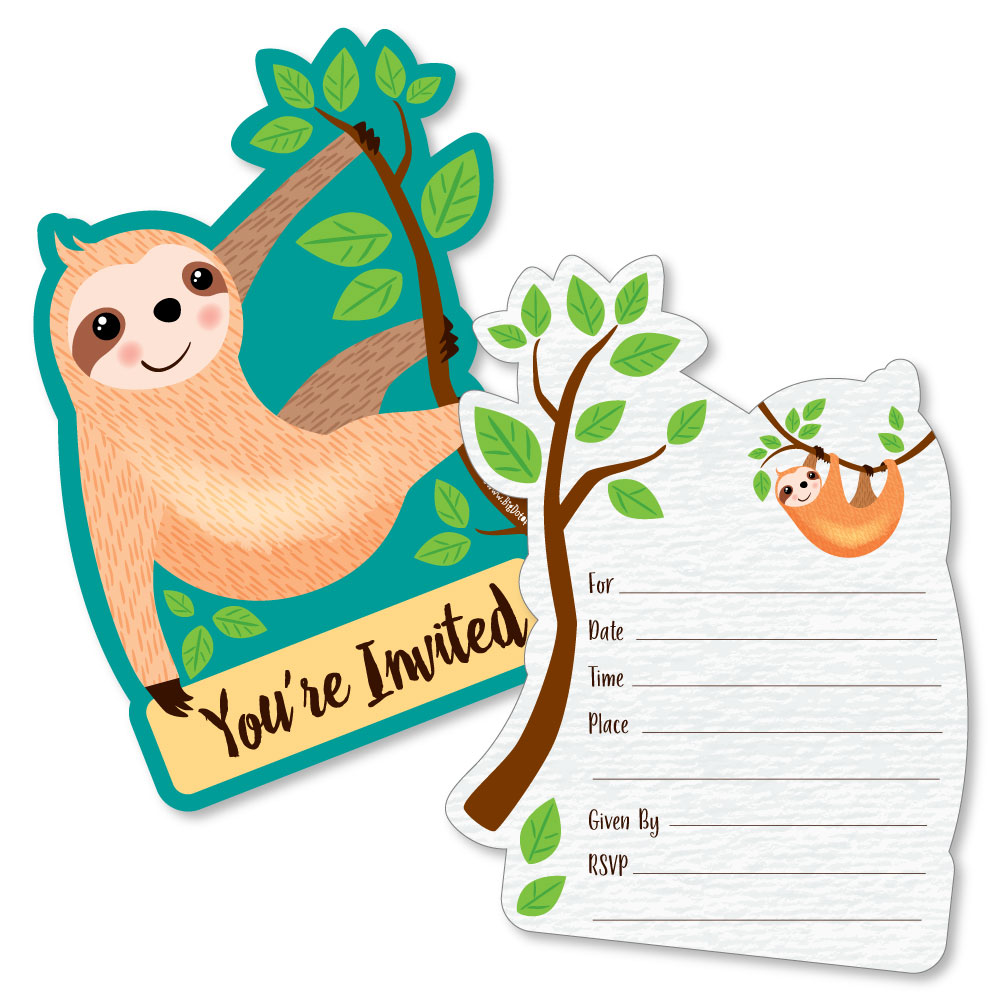 Let's Hang - Sloth - Shaped Fill-In Invitations - Baby Shower or Birthday Party Invitation Cards w/Envelopes - Set of 12