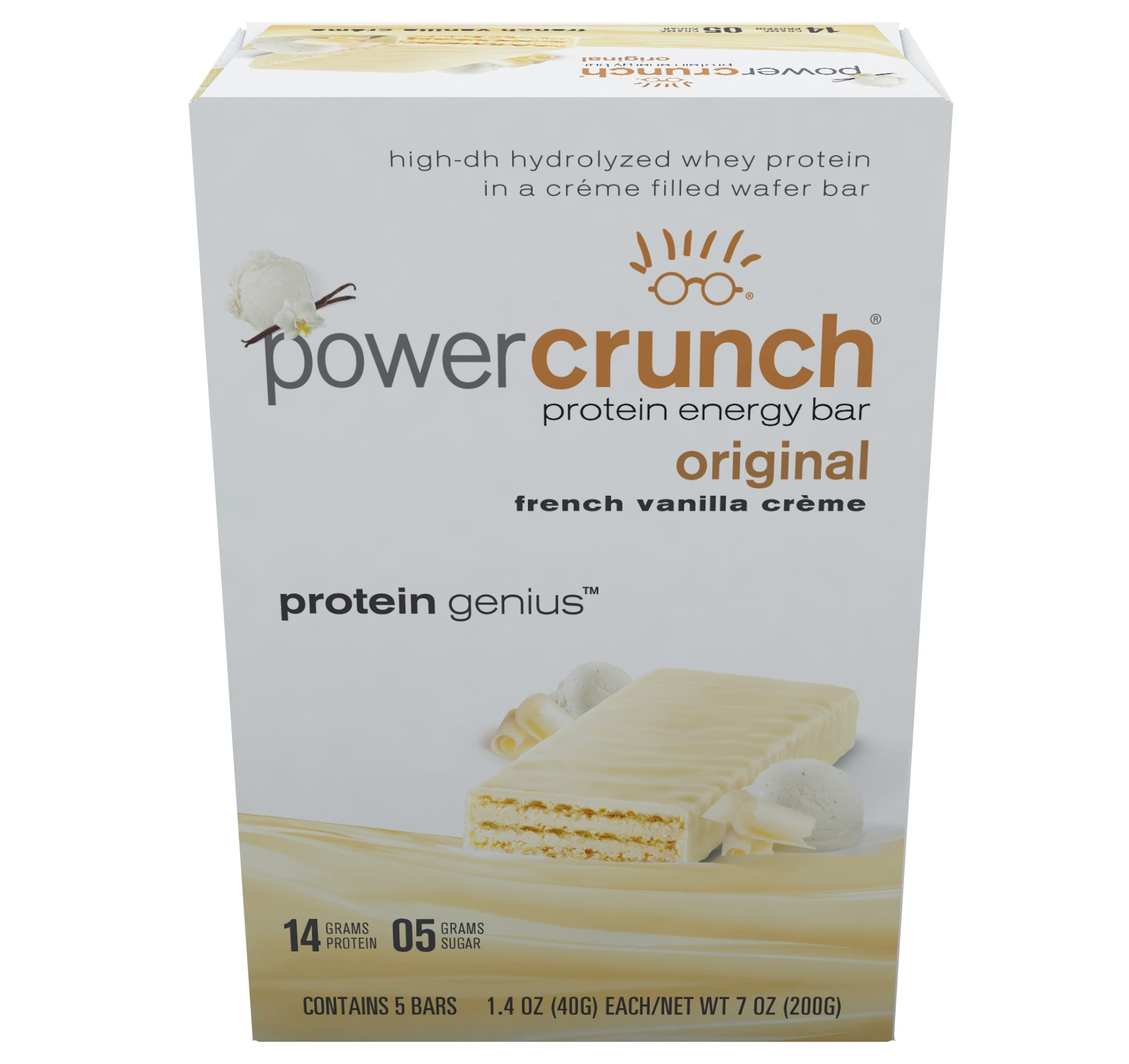 Power Crunch Protein Energy Bar, French Vanilla Cream, 14g Protein, 5 Ct