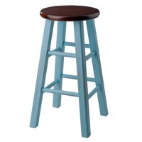 """Winsome Wood Ivy 24"""" Counter Stool, Rustic Light Blue w/ Walnut seat"""