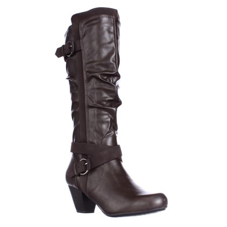 Womens Rialto Crystal Knee High Slouch Boots, Brown