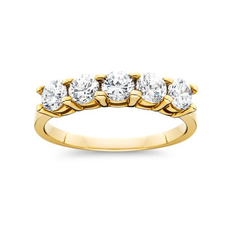1 cttw Five Stone Diamond Wedding Anniversary Ring 14K Yellow Gold (Navy Gold Wedding)