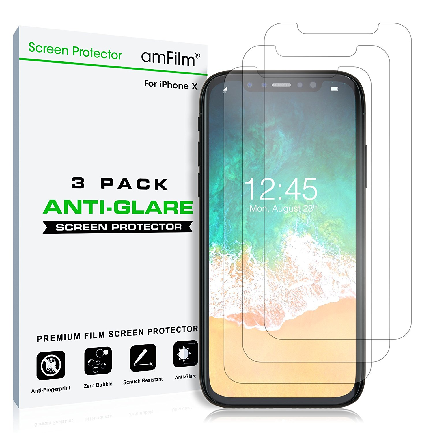 Apple iPhone X amFilm Premium Anti-Glare/Anti-Fingerprint Screen Protector (3 Pack)