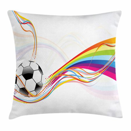 Soccer Throw Pillow Cushion Cover, Rainbow Patterned Swirled Lines Abstract Football Pattern Colorful Stripes Design, Decorative Square Accent Pillow Case, 18 X 18 Inches, Multicolor, by Ambesonne