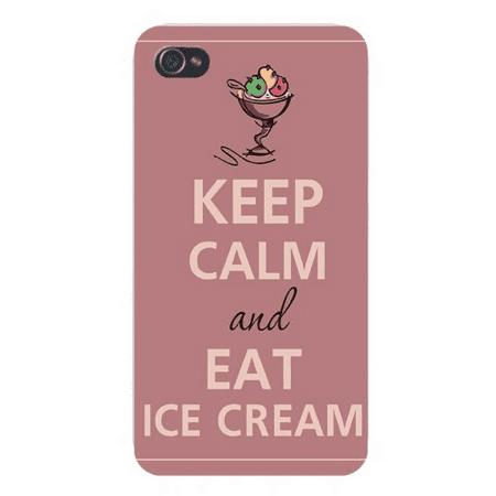 Apple Iphone Custom Case 5 / 5s AND SE White Plastic Snap on - Keep Calm and Eat Ice Cream Sundae