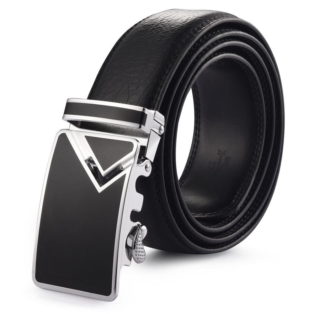 Automatic Buckle Belt Leather Belts Fashionable Waist Band for Men