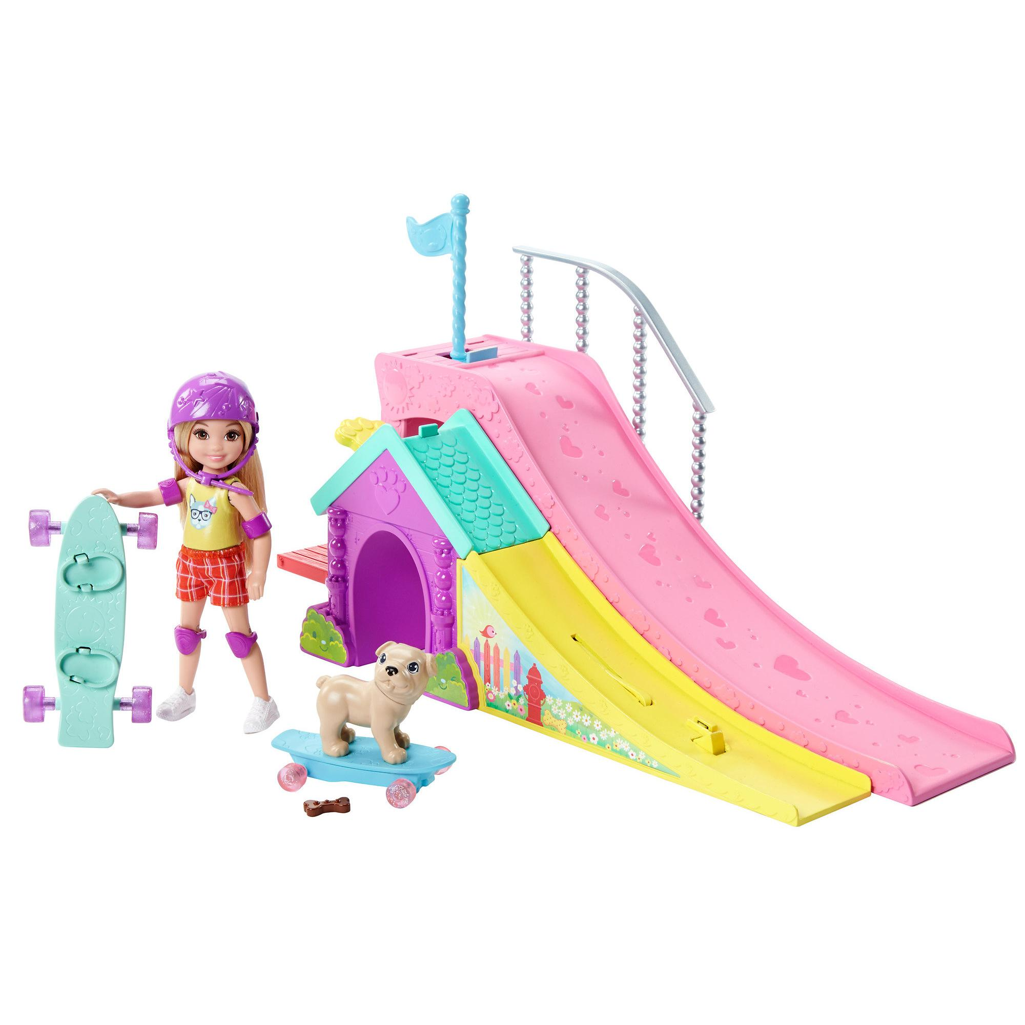 Barbie Club Chelsea Skatepark Playset with Chelsea Doll & Flipping Puppy