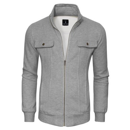 TAM WARE Mens Zip-Up with Two Fake Chest Pockets Jacket