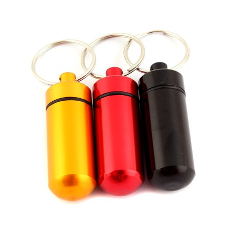 5 x Pill Box Bottle Holder WaterProof Aluminum Container Keychain Medicine Case (Pills Bottle)