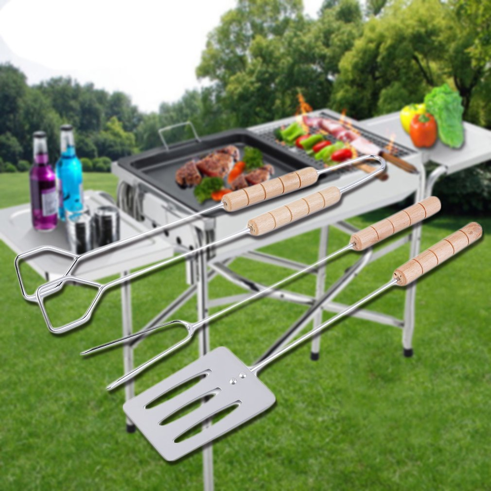 3pcs BBQ Tool Set Spatula Fork Tong with Long Handles Grip Grilling for Outdoor