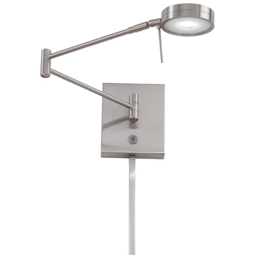 Apothecary Brushed Nickel LED Swing Arm Wall Lamp by