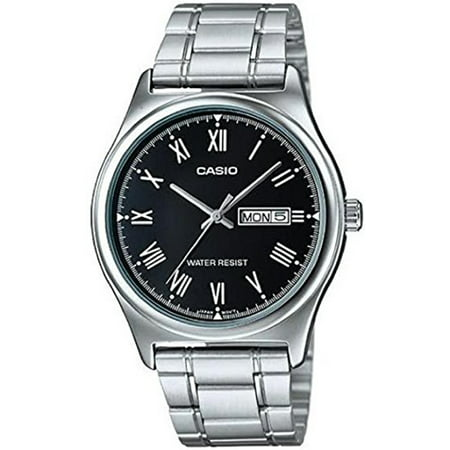 Men's Stainless Steel Day Date Black Dial Watch MTP-V006D-1BUDF Day Date Mens Wrist Watch