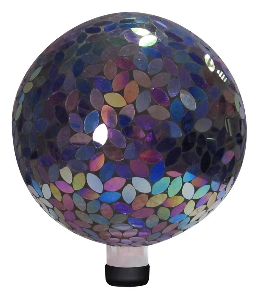 Mosaic Gazing Ball in Purple by Benzara Inc