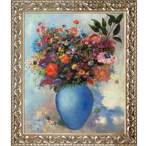 Tori Home Flowers in a Turquoise Vase 1912 by Odilon Redon Framed Print Painting