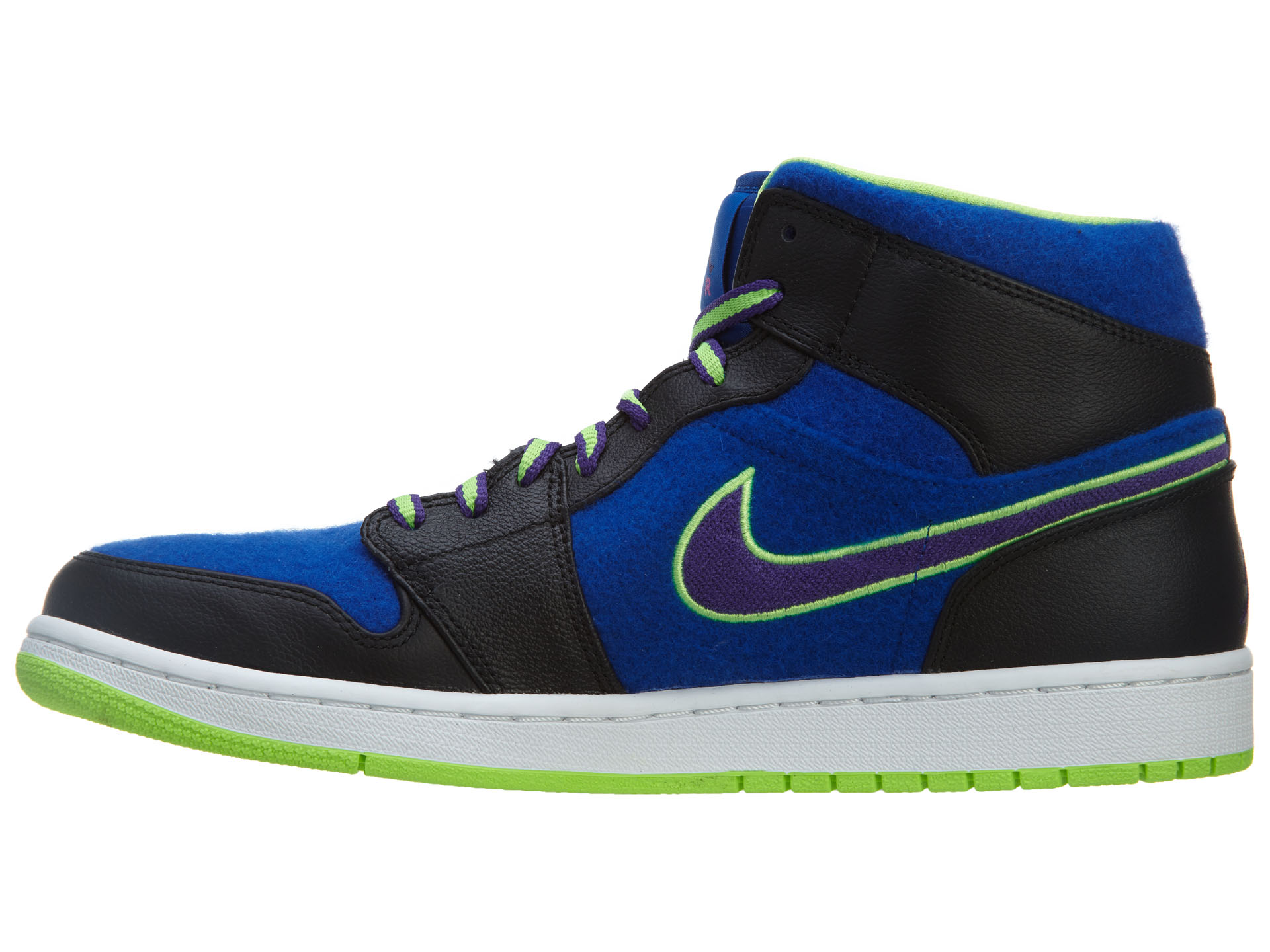 Nike Men's Air Jordan Purple-Game I 1 Mid Black/Court Purple-Game Jordan Royal-Flash Lime 633206-040 5be784